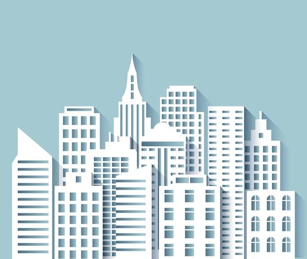 Skyline der papierstadt. städtisches origami-stadtbild 3d mit modernen häusern und wolkenkratzern des weißen papierschnitts. abstrakte megapolis-vektorpanoramaszene. stadtbildstadt, gebäude städtische grafische origamiillustration