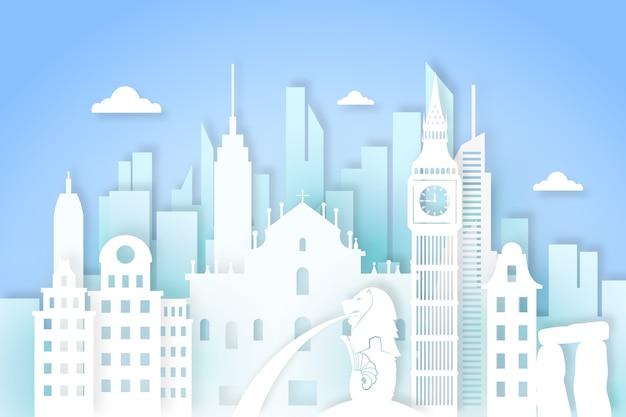 Skyline der papierstil-wahrzeichen