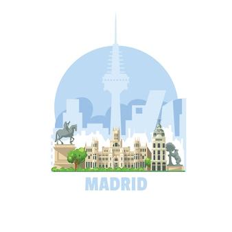 Skyline der stadt madrid, spanien. eine der meistbesuchten touristenstädte der welt.