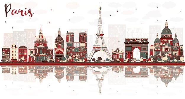 Skyline der stadt paris frankreich mit farbigen wahrzeichen.