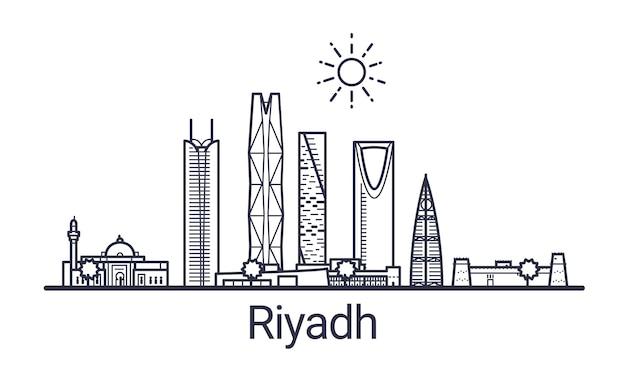 Skyline der stadt riad im linearen stil. riad stadtbild strichzeichnungen.