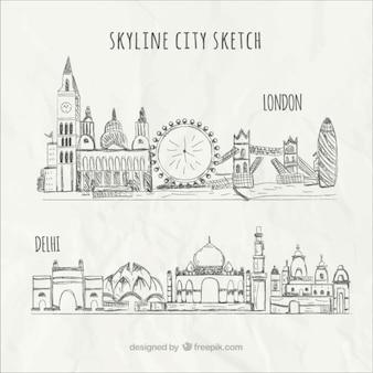 Skyline der stadt skizze