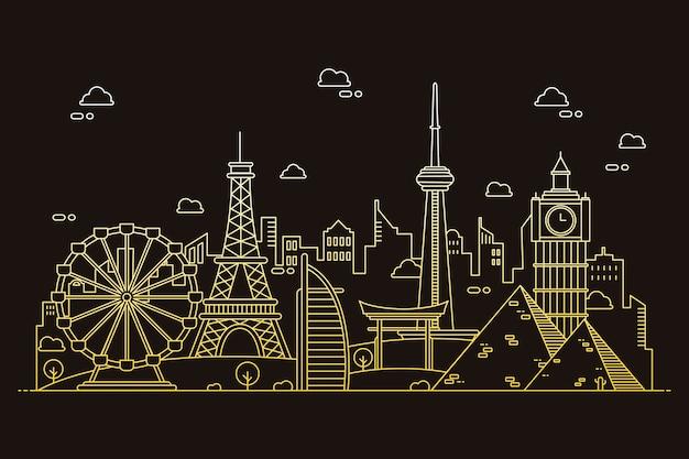 Skyline der wahrzeichen in farbverlauf sepia-tönen zu skizzieren