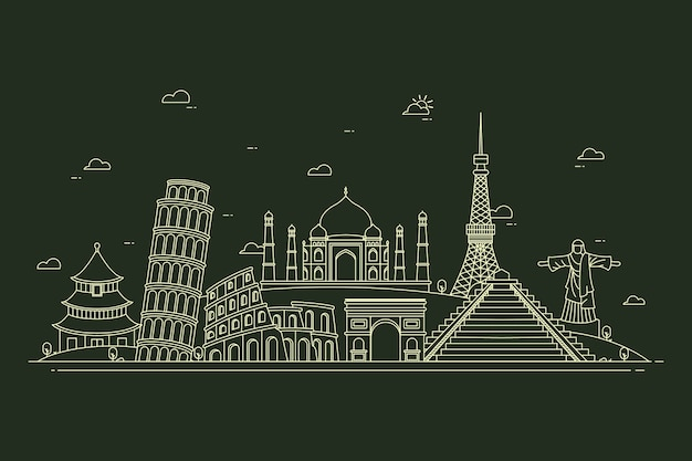 Skyline der wahrzeichen in schwarz und weiß zu skizzieren