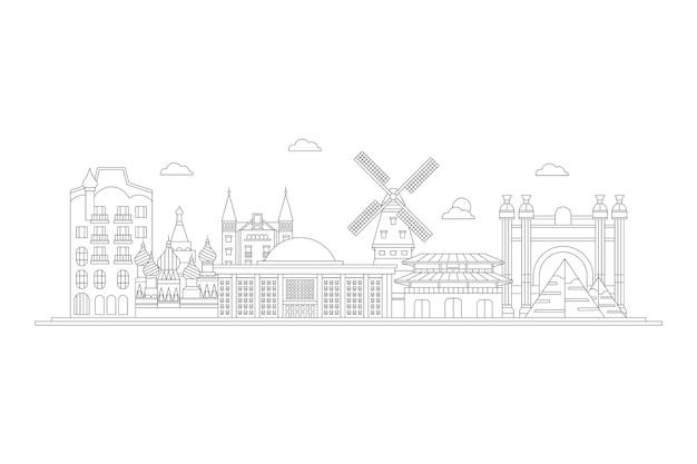 Skyline-panorama der sehenswürdigkeiten zu skizzieren