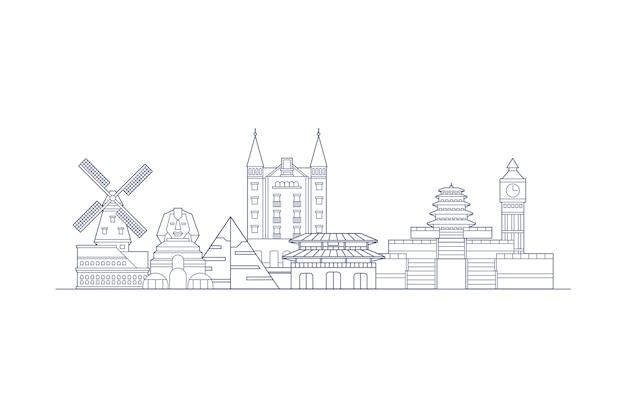Skyline sehenswürdigkeiten monochrom zu skizzieren