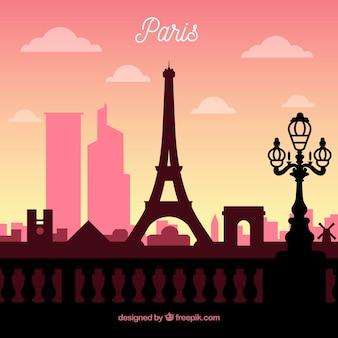 Skyline silhouette der pariser stadt