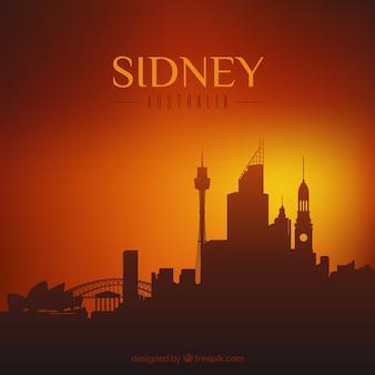 Skyline silhouette der sydney city