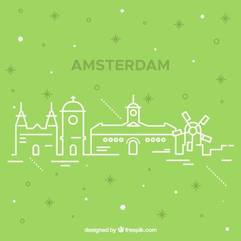 Skyline silhouette von amsterdam stadt in monoline