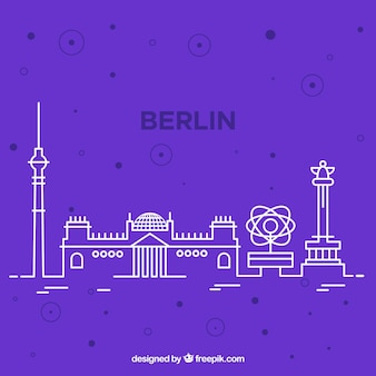 Skyline Silhouette von Berlin Stadt in Monoline