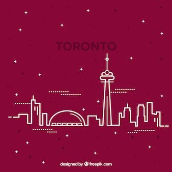 Skyline silhouette von toronto stadt in monoline