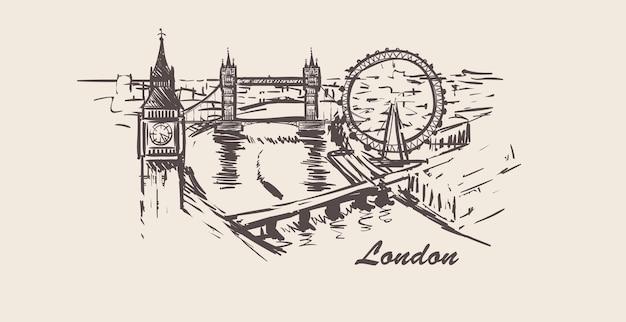Skyline-skizze des londoner stadtbildes