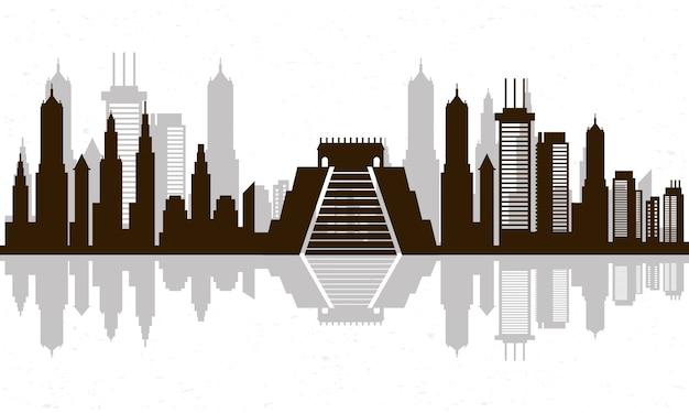 Skyline-szenensymbol des stadtbildes mexiko