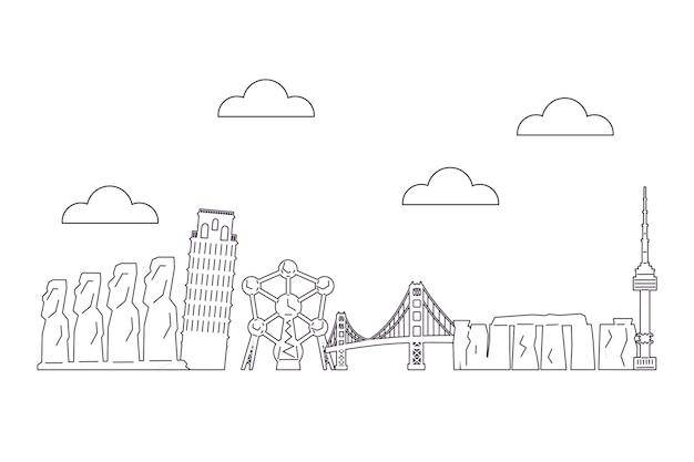 Skyline-thema der sehenswürdigkeiten zu skizzieren