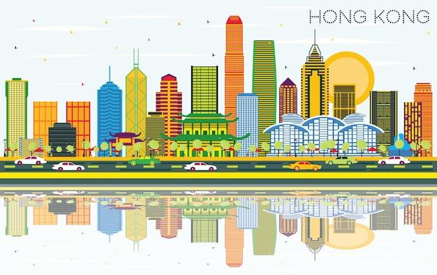 Skyline von hong kong china mit farbgebäuden, blauem himmel und reflexionen. vektor-illustration. geschäftsreise- und tourismuskonzept mit moderner architektur. hong kong-stadtbild mit sehenswürdigkeiten.