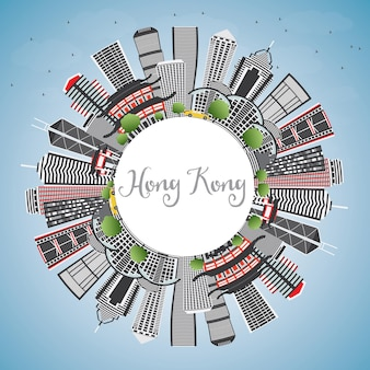 Skyline von hongkong mit grauen gebäuden, blauem himmel und textfreiraum. vektor-illustration. geschäftsreise- und tourismuskonzept mit moderner architektur. hong kong-stadtbild mit sehenswürdigkeiten.