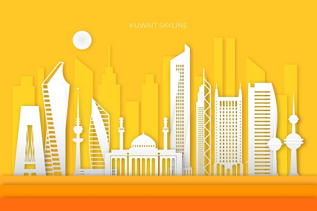 Skyline von kuwait im papierstil mit gelbem hintergrund
