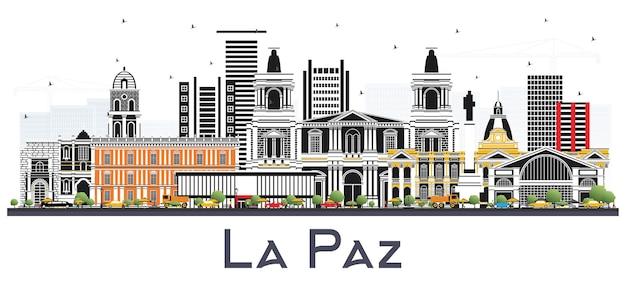 Skyline von la paz bolivien mit farbe gebäude, isolated on white. vektor-illustration. geschäftsreise- und tourismuskonzept mit historischer architektur. la paz-stadtbild mit sehenswürdigkeiten.
