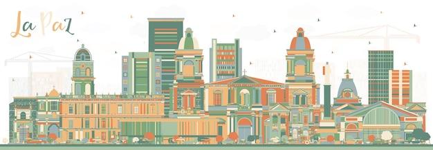 Skyline von la paz bolivien mit farbgebäuden. illustration