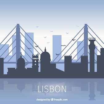 Skyline von lissabon in flacher art