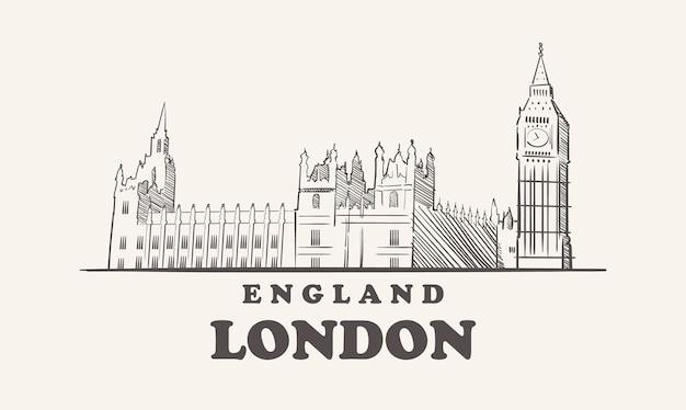 Skyline von london, england skizzieren stadt