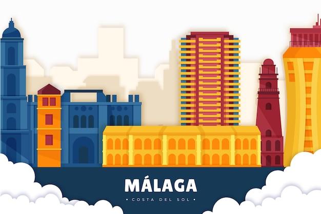 Skyline von malaga im papierstil