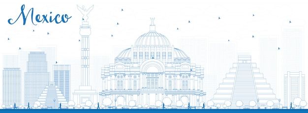 Skyline von mexiko mit blauen sehenswürdigkeiten zu skizzieren