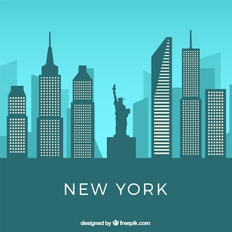 Skyline von new york in der flachen art