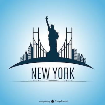Skyline von new york vektor-design Kostenlosen Vektoren