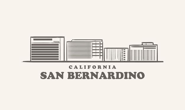 Skyline von san bernardino, kalifornien gezeichnete skizze