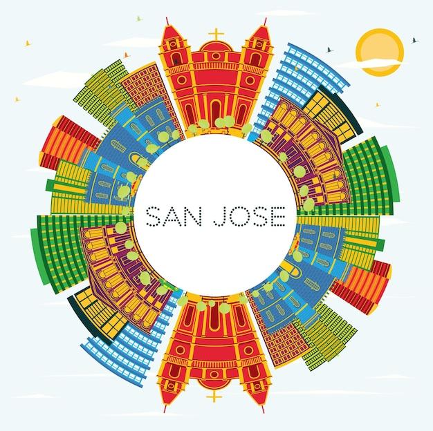 Skyline von san jose costa rica mit farbgebäuden, blauem himmel und textfreiraum. vektor-illustration. geschäftsreise- und tourismuskonzept mit moderner architektur. san jose-stadtbild mit sehenswürdigkeiten.
