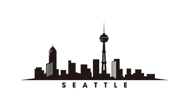 Skyline von seattle und wahrzeichen silhouette vektor-illustration