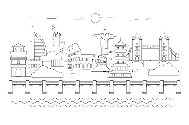 Skyline von sehenswürdigkeiten mit denkmälern zu skizzieren