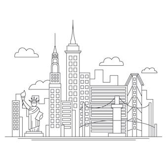 Skyline von sehenswürdigkeiten mit gebäuden zu skizzieren