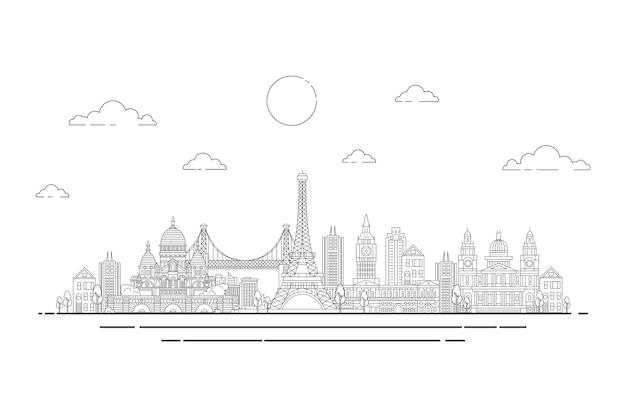 Skyline von sehenswürdigkeiten zu skizzieren