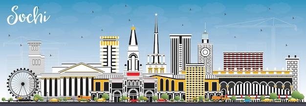 Skyline von sotschi russland mit farbgebäuden und blauem himmel. vektor-illustration. geschäftsreise- und tourismuskonzept mit moderner architektur. sotschi-stadtbild mit sehenswürdigkeiten.