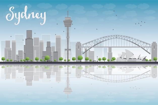 Skyline von sydney city mit blauem himmel und wolkenkratzern