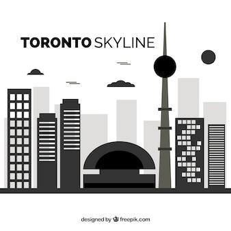 Skyline von toronto in flacher art