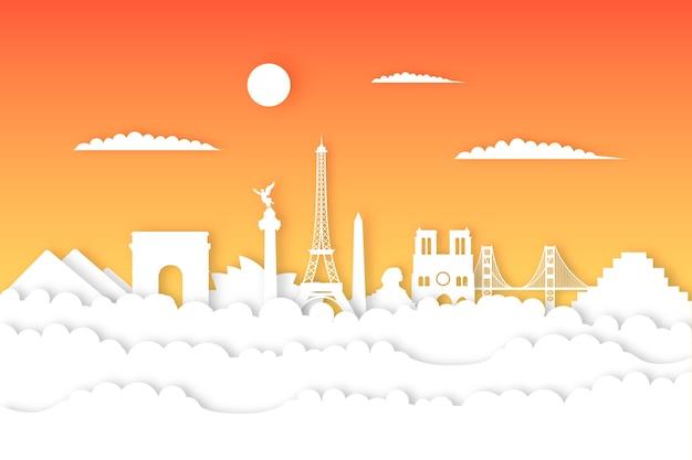 Skyline-wahrzeichen im papierstil