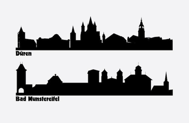Skyline zweier deutscher städte duren und bad munstereifel.