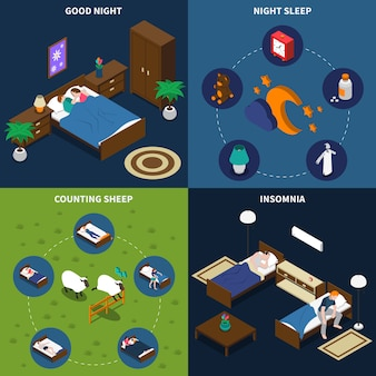 Sleep time isometric-kartenset