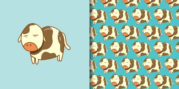 Sleeped cow cartoon hand gezeichneten stil