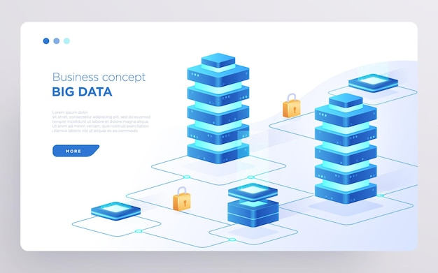 Slide hero seite oder digital technology banner big data geschäftskonzept isometrischer vektor
