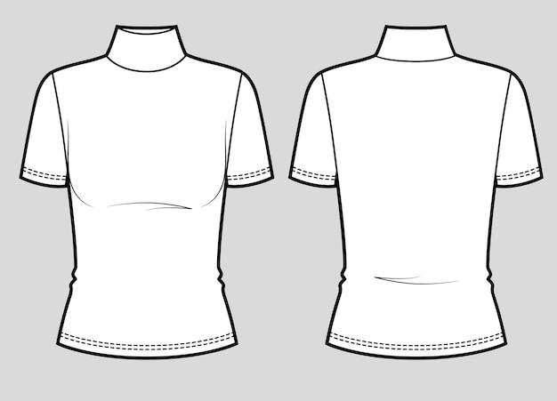 Slim fit kurzarm-t-shirt mit rollkragen