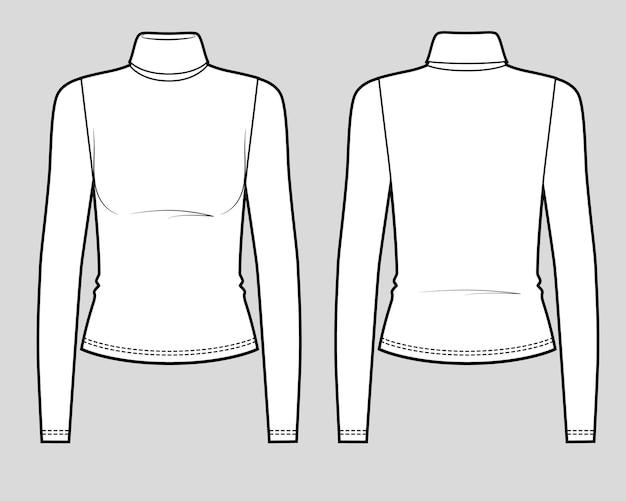 Slim fit langarm-t-shirt mit rollkragen
