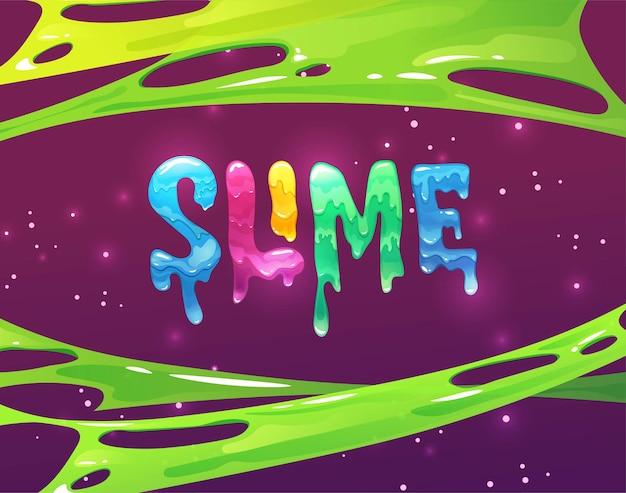 Slime hand schriftzug text helle geleebuchstaben