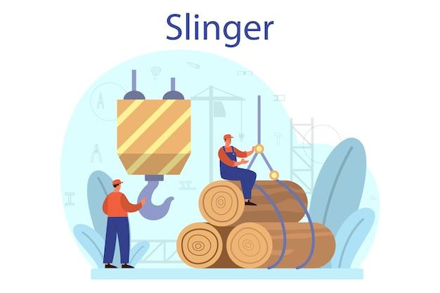 Slinger. professionelle arbeiter beim bau von industrie-schleudergütern.