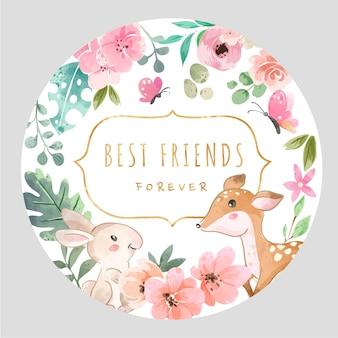 Slogan der besten freunde mit farbenfrohen blumen und niedlichen tieren