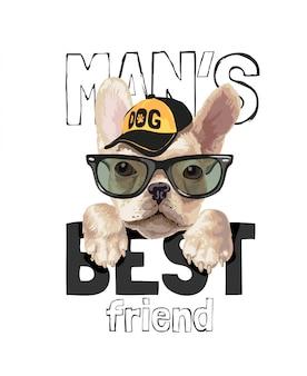 Slogan des besten freundes des mannes mit niedlichem hund in der sonnenbrillenillustration
