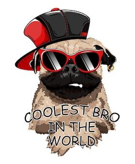 Slogan mit cartoon-hund. französische bulldogge.